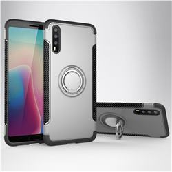 Armor Anti Drop Carbon PC + Silicon Invisible Ring Holder Phone Case for Huawei P20 - Silver