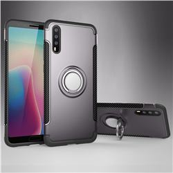 Armor Anti Drop Carbon PC + Silicon Invisible Ring Holder Phone Case for Huawei P20 - Grey