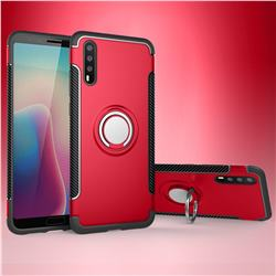 Armor Anti Drop Carbon PC + Silicon Invisible Ring Holder Phone Case for Huawei P20 - Red