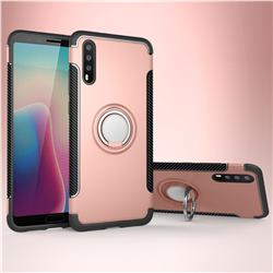 Armor Anti Drop Carbon PC + Silicon Invisible Ring Holder Phone Case for Huawei P20 - Rose Gold