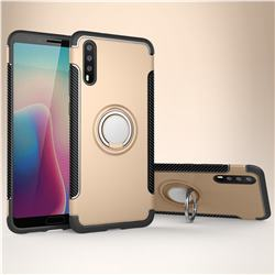 Armor Anti Drop Carbon PC + Silicon Invisible Ring Holder Phone Case for Huawei P20 - Champagne
