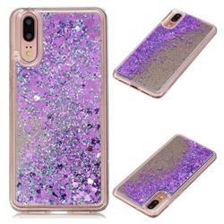 Glitter Sand Mirror Quicksand Dynamic Liquid Star TPU Case for Huawei P20 - Purple