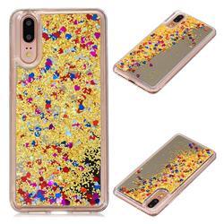 Glitter Sand Mirror Quicksand Dynamic Liquid Star TPU Case for Huawei P20 - Yellow