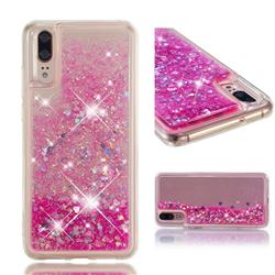Dynamic Liquid Glitter Quicksand Sequins TPU Phone Case for Huawei P20 - Rose