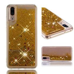 Dynamic Liquid Glitter Quicksand Sequins TPU Phone Case for Huawei P20 - Golden
