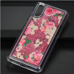Rose Flower Glassy Glitter Quicksand Dynamic Liquid Soft Phone Case for Huawei P20