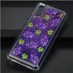 Purple Grape Glassy Glitter Quicksand Dynamic Liquid Soft Phone Case for Huawei P20