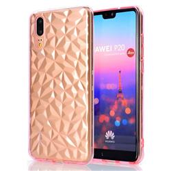 Diamond Pattern Shining Soft TPU Phone Back Cover for Huawei P20 - Pink