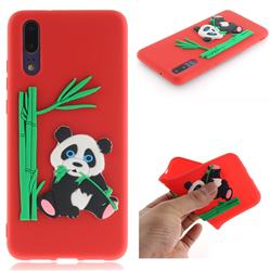 Panda Eating Bamboo Soft 3D Silicone Case for Huawei P20 - Red