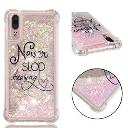 Never Stop Dreaming Dynamic Liquid Glitter Sand Quicksand Star TPU Case for Huawei P20