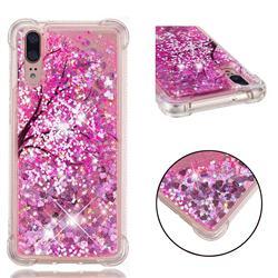 Pink Cherry Blossom Dynamic Liquid Glitter Sand Quicksand Star TPU Case for Huawei P20