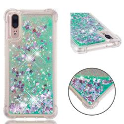 Dynamic Liquid Glitter Sand Quicksand TPU Case for Huawei P20 - Green Love Heart