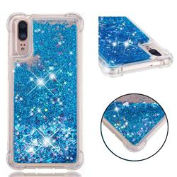 Dynamic Liquid Glitter Sand Quicksand TPU Case for Huawei P20 - Blue Love Heart
