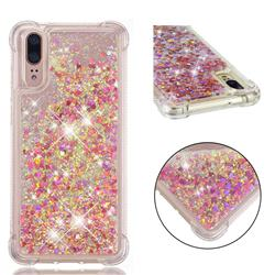 Dynamic Liquid Glitter Sand Quicksand TPU Case for Huawei P20 - Rose Gold Love Heart