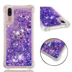 Dynamic Liquid Glitter Sand Quicksand Star TPU Case for Huawei P20 - Purple