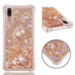 Dynamic Liquid Glitter Sand Quicksand Star TPU Case for Huawei P20 - Diamond Gold