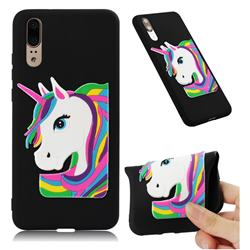 Rainbow Unicorn Soft 3D Silicone Case for Huawei P20 - Black