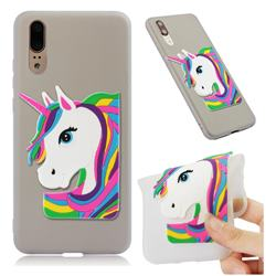 Rainbow Unicorn Soft 3D Silicone Case for Huawei P20 - Translucent White