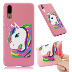 Rainbow Unicorn Soft 3D Silicone Case for Huawei P20 - Pink