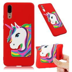 Rainbow Unicorn Soft 3D Silicone Case for Huawei P20 - Red