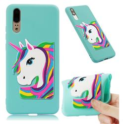 Rainbow Unicorn Soft 3D Silicone Case for Huawei P20 - Sky Blue