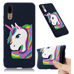 Rainbow Unicorn Soft 3D Silicone Case for Huawei P20 - Navy