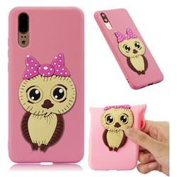 Bowknot Girl Owl Soft 3D Silicone Case for Huawei P20 - Pink