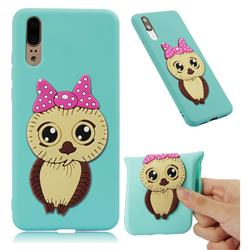 Bowknot Girl Owl Soft 3D Silicone Case for Huawei P20 - Sky Blue