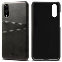Suteni Retro Classic Card Slots Calf Leather Coated Back Cover for Huawei P20 - Black