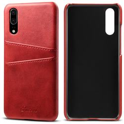 Suteni Retro Classic Card Slots Calf Leather Coated Back Cover for Huawei P20 - Red