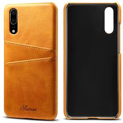 Suteni Retro Classic Card Slots Calf Leather Coated Back Cover for Huawei P20 - Khaki