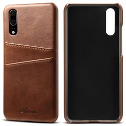 Suteni Retro Classic Card Slots Calf Leather Coated Back Cover for Huawei P20 - Brown