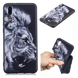 Lion 3D Embossed Relief Black TPU Cell Phone Back Cover for Huawei P20