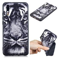 White Tiger 3D Embossed Relief Black TPU Cell Phone Back Cover for Huawei P20