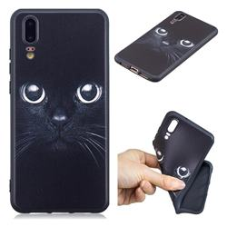 Bearded Feline 3D Embossed Relief Black TPU Cell Phone Back Cover for Huawei P20