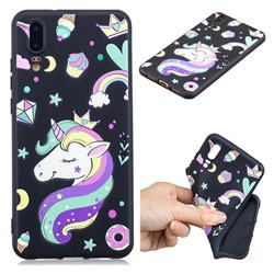 Candy Unicorn 3D Embossed Relief Black TPU Cell Phone Back Cover for Huawei P20