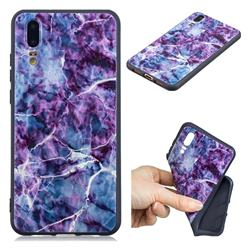 Marble 3D Embossed Relief Black TPU Cell Phone Back Cover for Huawei P20