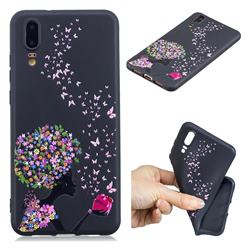 Corolla Girl 3D Embossed Relief Black TPU Cell Phone Back Cover for Huawei P20