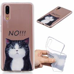 Cat Say No Clear Varnish Soft Phone Back Cover for Huawei P20