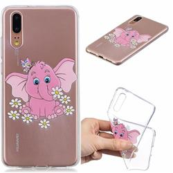 Tiny Pink Elephant Clear Varnish Soft Phone Back Cover for Huawei P20