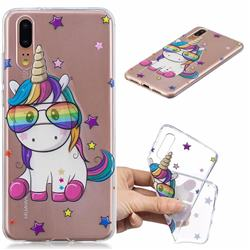 Glasses Unicorn Clear Varnish Soft Phone Back Cover for Huawei P20