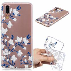 Magnolia Flower Clear Varnish Soft Phone Back Cover for Huawei P20