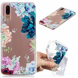 Gem Flower Clear Varnish Soft Phone Back Cover for Huawei P20