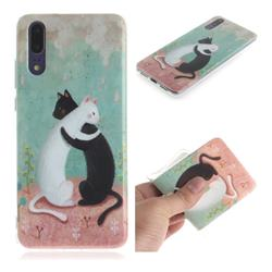 Black and White Cat IMD Soft TPU Cell Phone Back Cover for Huawei P20