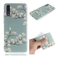 Magnolia Flower IMD Soft TPU Cell Phone Back Cover for Huawei P20