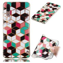 Three-dimensional Square Soft TPU Marble Pattern Phone Case for Huawei P20