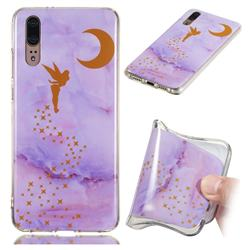 Elf Purple Soft TPU Marble Pattern Phone Case for Huawei P20
