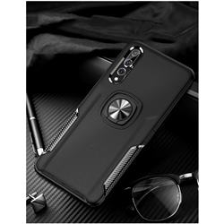 Knight Armor Anti Drop PC + Silicone Invisible Ring Holder Phone Cover for Huawei P20 - Black