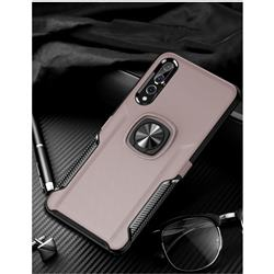 Knight Armor Anti Drop PC + Silicone Invisible Ring Holder Phone Cover for Huawei P20 - Rose Gold