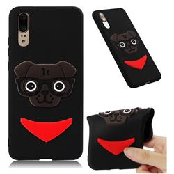 Glasses Dog Soft 3D Silicone Case for Huawei P20 - Black